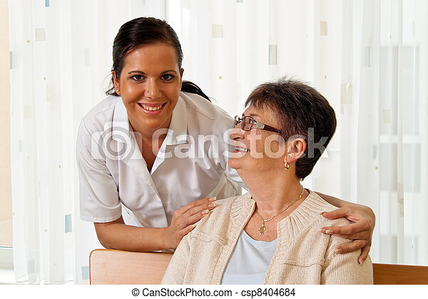 nurse in elderly care for the elderly - csp8404684