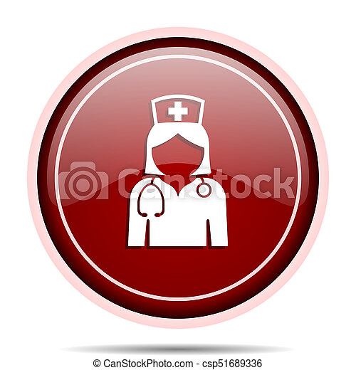 Nurse red glossy round web icon. Circle isolated internet button for webdesign and smartphone applications. - csp51689336