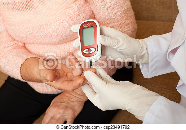 Nurse takes test for sugar in blood of elderly woman at home. - csp23491792