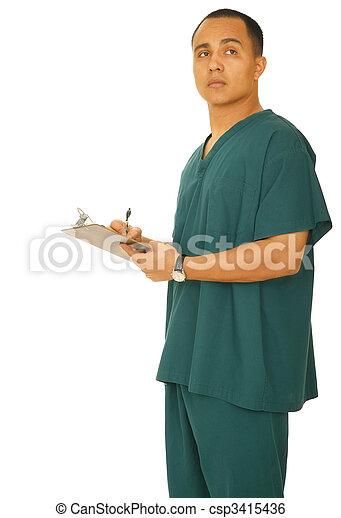 Nurse Thinking What To Write - csp3415436