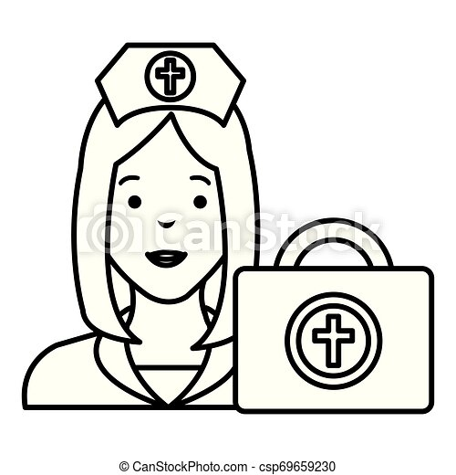 nurse with medical kit character - csp69659230