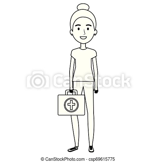 nurse with medical kit character - csp69615775