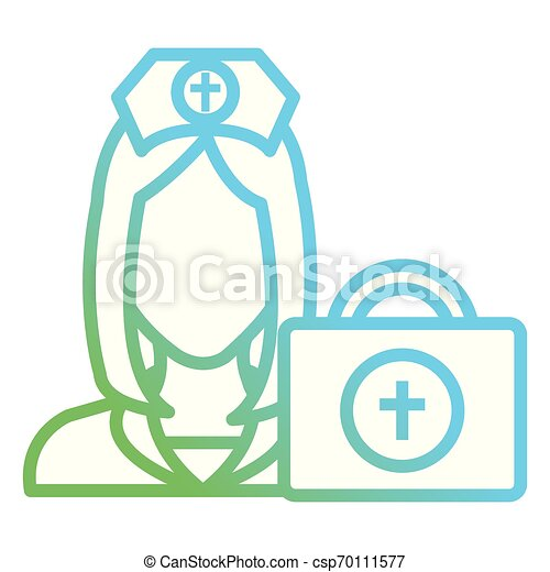 nurse with medical kit character - csp70111577