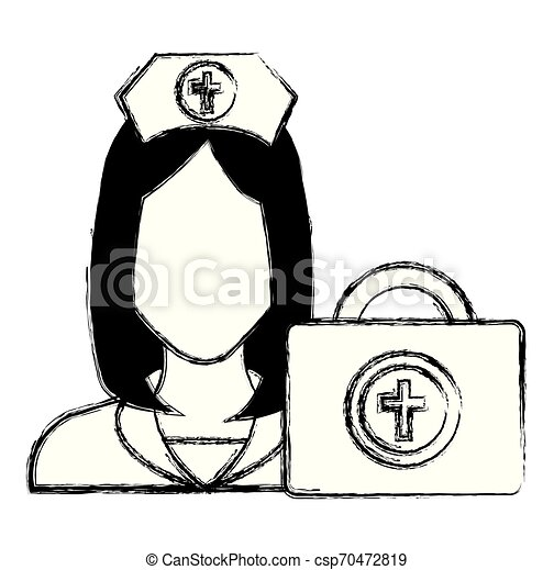 nurse with medical kit character - csp70472819