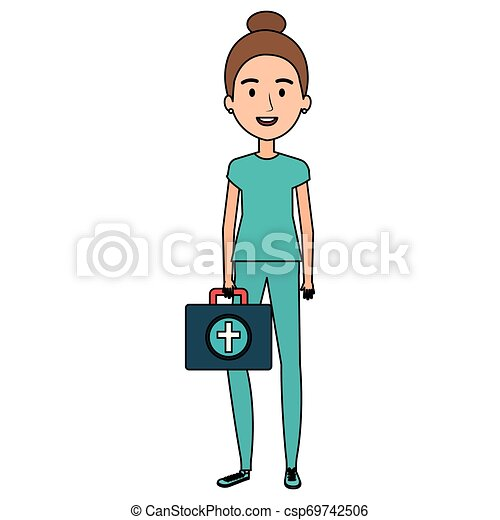 nurse with medical kit character - csp69742506