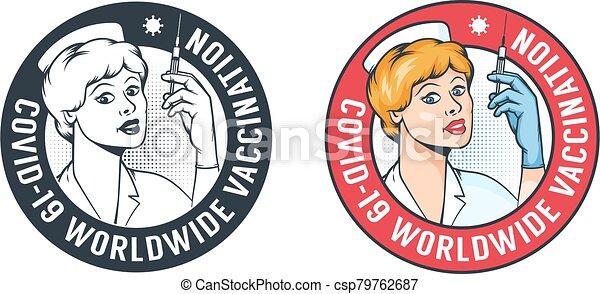Nurse with syringe - retro vaccination logo - csp79762687