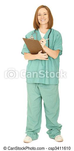 Nurse Writing On The Board - csp3411610