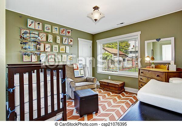 Nursery room in light green - csp21076395