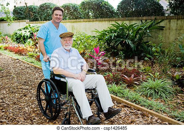 Nursing Home - Walk in the Garden - csp1426485