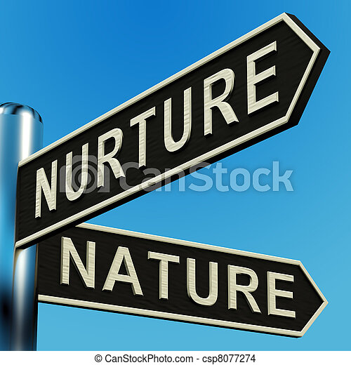 Nurture Or Nature Directions On A Signpost - csp8077274