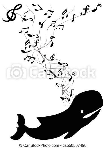 nuta, kiwnięcia, wieloryb, muzyka - csp50507498