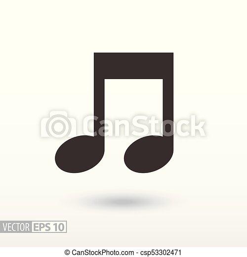 nuta, płaski, icon., muzyka, znak - csp53302471