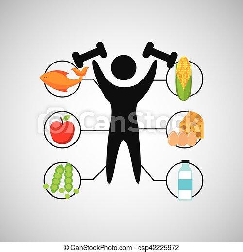 El Hombre Del Deporte Levanta La Salud Nutritiva El Peso