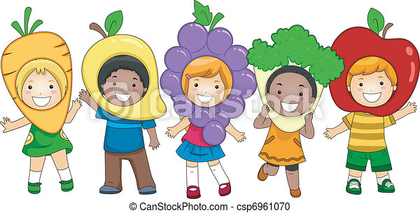 nutrition activity illustration of kids dressed as fruits and rh canstockphoto com nutrition clipart free nutrition clipart black and white