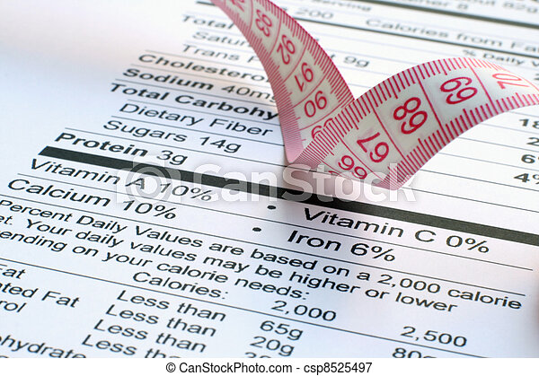 Nutrition facts and measure tape  - csp8525497