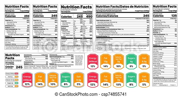 Nutrition Facts Label Vector Illustration Set Of Tables Food