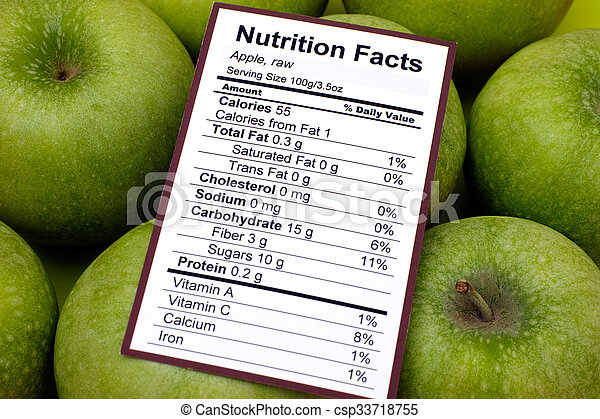 Nutrition facts of raw apples  - csp33718755