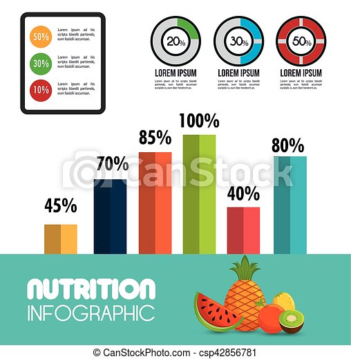 nutrition food infographic icons - csp42856781