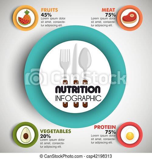 nutrition food infographic icons - csp42198313