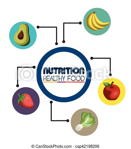 nutrition food infographic icons - csp42198206