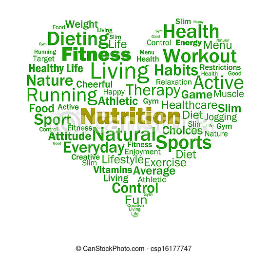 Nutrition Heart Shows Healthy Food Nutrients And Nutritional - csp16177747