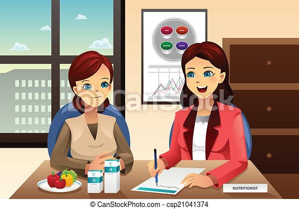 Nutritionist explaining about diet - csp21041374
