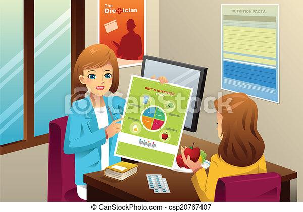 Nutritionist explaining about diet - csp20767407