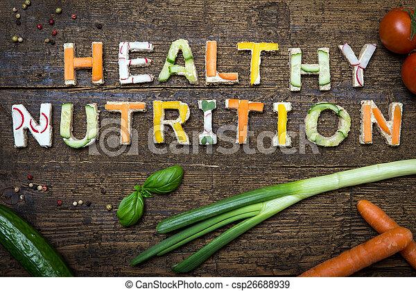 nutrizione, lettere, sano, testo, costruire, verdura, canapes - csp26688939