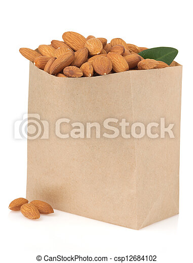 nuts almond on white - csp12684102