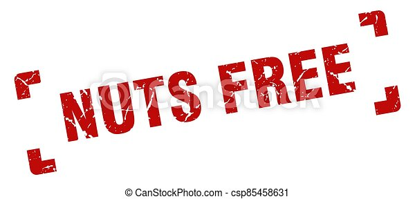 nuts free stamp. square grunge sign isolated on white background - csp85458631