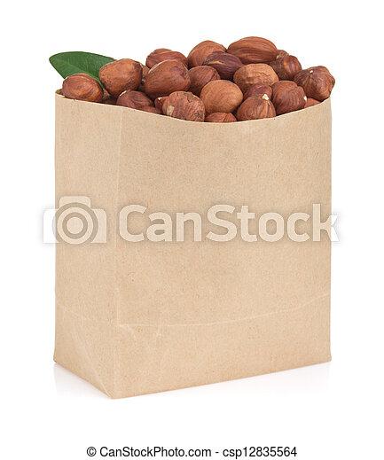 nuts hazelnut on white - csp12835564