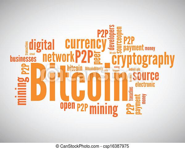 nuvem, conceito, palavra, bitcoin, relatado - csp16387975