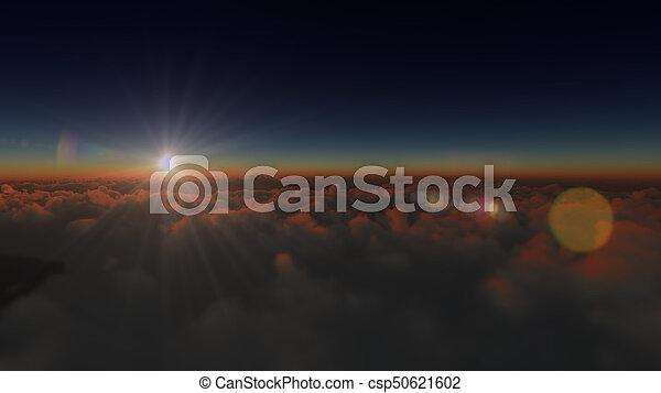 nuvens, amanhecer, acima - csp50621602