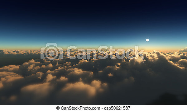 nuvens, amanhecer, acima - csp50621587