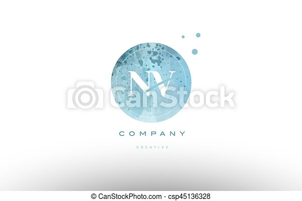 nv n v watercolor grunge vintage alphabet letter logo - csp45136328