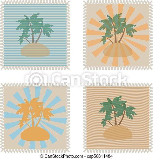 nyár, állhatatos, grunge, szöveg, belső, ábra, tropikus, topog, vektor, állás, -e - csp50811484