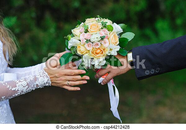 nyár, csokor, lovász, liget, menyasszony, esküvő, ad - csp44212428