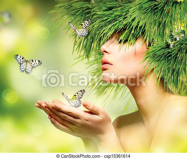 nyár, eredet, alkat, haj, zöld, woman., fű, leány - csp15361614