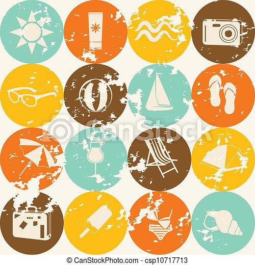 nyár, retro, seamless, motívum - csp10717713