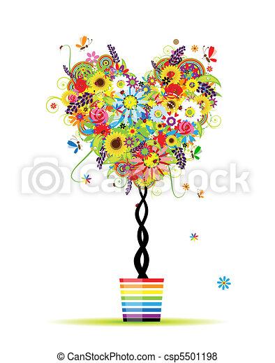 nyár, szív, edény, fa, alakít, tervezés, virágos, -e - csp5501198