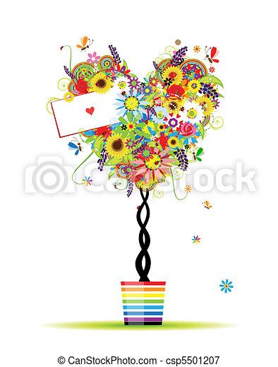 nyár, szív, edény, fa, alakít, tervezés, virágos, -e - csp5501207