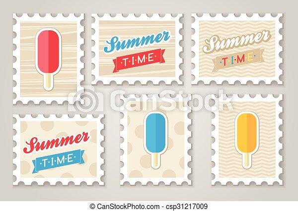 nyár, topog, creame, jég - csp31217009