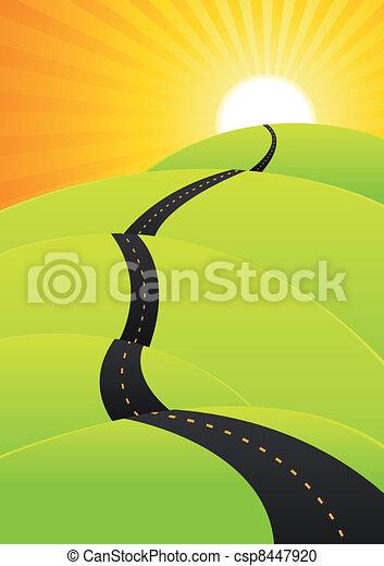 nyár, utazás, -, hosszú, utazás, út - csp8447920