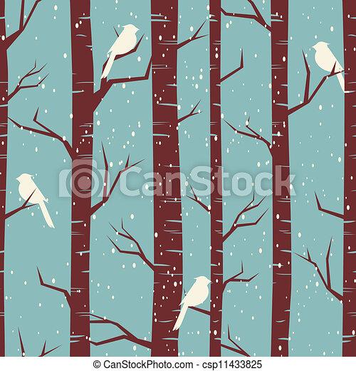 nyírfa, erdő, tél - csp11433825