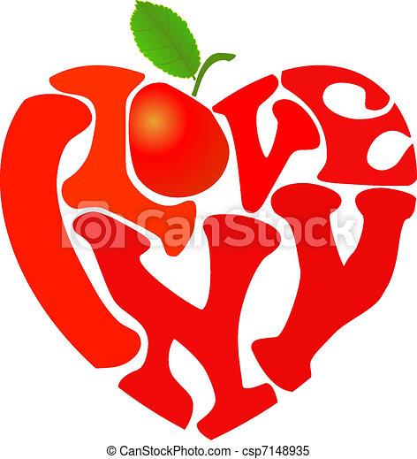 """Ny symbol. Words """"i love ny"""" and apple shaped in heart symbol."""