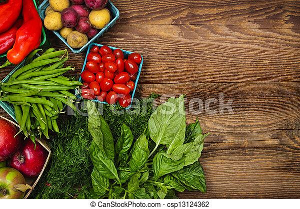 nya vegetables, marknaden, frukter - csp13124362