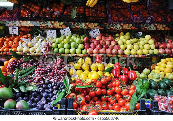 nya vegetables, marknaden, frukter - csp5588746
