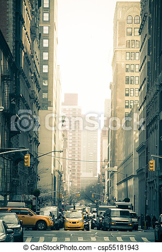 22a8a4e150257 Nyc street scene. Busy new york city street with cars and ...