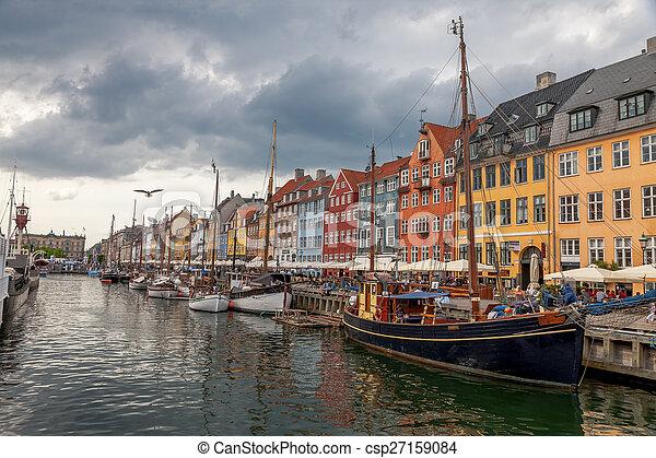 nyhavn, copenhague, bateaux, bateaux, hurbour, nyhavn, denmark., calme - csp27159084