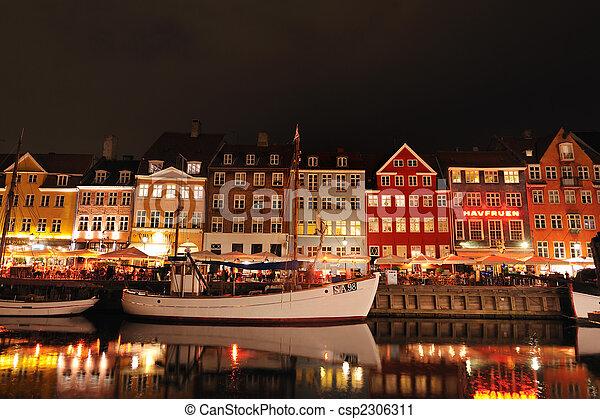 nyhavn, danemark, copenhague - csp2306311